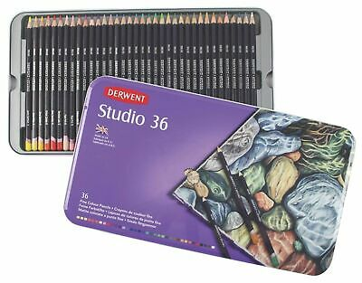 Derwent Studio Coloured Pencil, Authentic Metal Tin 36 Colour Pencils