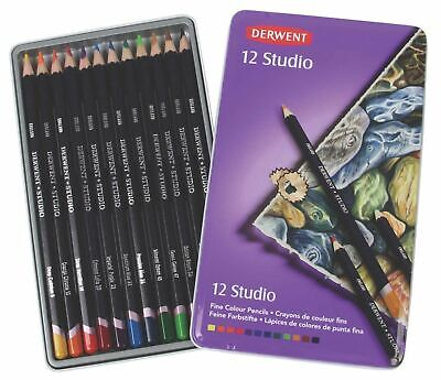 Derwent Studio Coloured Pencil, 3.4mm Core, Metal Tin, 12 Pencils