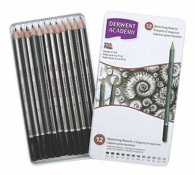 Derwent Academy Graphite Sketching Pencils Tin of 12 (From 6B to 5H)