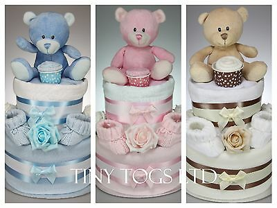 Cute Two 2 Tier Nappy Cake With Teddy Baby Boy Girl Unisex Baby Shower