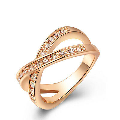 Fashion women Cross Ring Clear 3A Crystal band Rose gold Charm Hot Gift Size 5-9