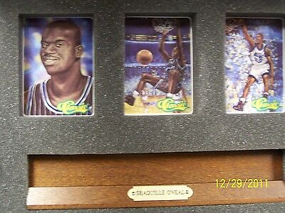SHAQUILLE O'NEIL CERAMIC COLLECTORS CARDS IN WOODEN PLAQUE WITH NAMEPLATE