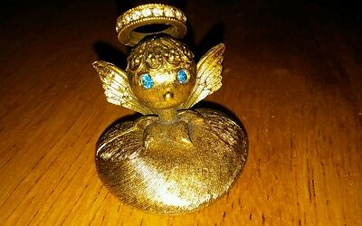 Vintage 60's Signed Tortolani Angel Brooch Pin with clear & blue rhinestones