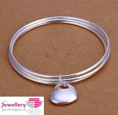 925 Sterling Silver Solid Heart Charm on 3 bangles Jewellery Womens Ladies Gifts