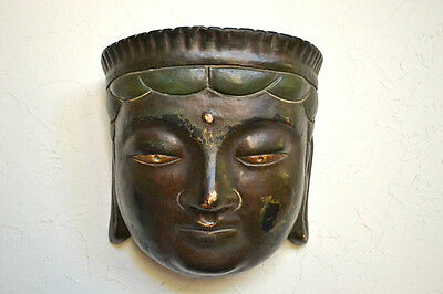 Antique Chinese 19th C. Qing Dynasty Wood and Lacquer Buddha Mask w/Signed Label