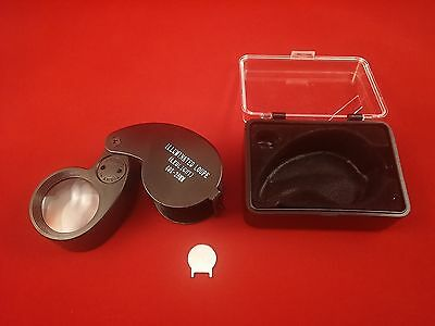 Jewelers Loupe Loop Eye Magnifier LED Illuminated 40x25mm Ships from US Seller