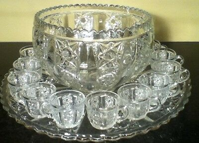 Tiffin Glass Button And Panel Large Punch Bowl With Underplate And 12 Cups