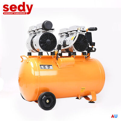 Double Engine 50L Tank Oil Free Air Compressor Noiseless Workshop Dental Garage