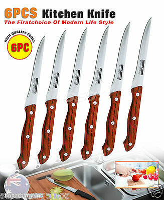 6PC 24cm Wood Pattern Stainless Steel Kitchen Dinner Knife Steak Knife