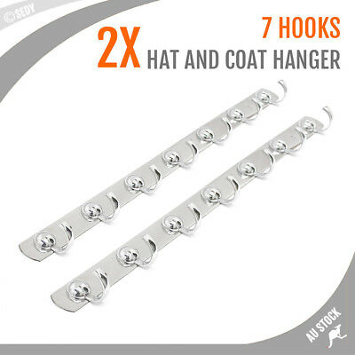 2x Hat & Coat Hooks Hanger Rack 7 Hooks Towel Bar Holder Bathroom Wall Door Hook