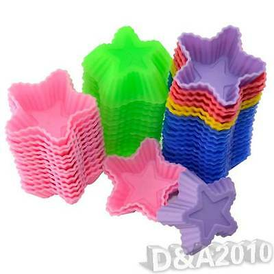 10 Pcs Stars Silicone Chocolate Jelly Soap Mould Candy Cup Cake Baking Molds