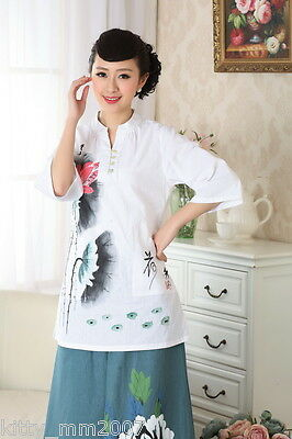 chinese jacket Linen printing short sleeve Top blouse size 30-40 white 140907