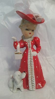 Vintage Shafford Lady in Red with Poodle