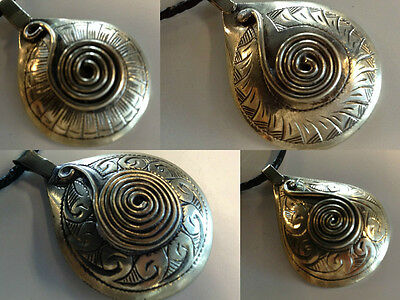 Moroccan Tribal Twisted Wirework Pendant Leather Necklace Engraved Metal artisan