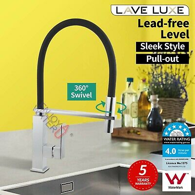 360° Swivel Deck Mount Kitchen Mixer Tap Pull Down Spring Laundry Sink Faucet