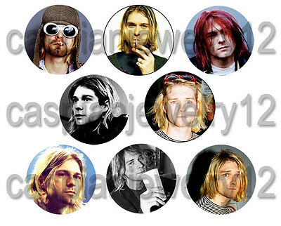 8 piece lot of Kurt Cobain pins buttons badges