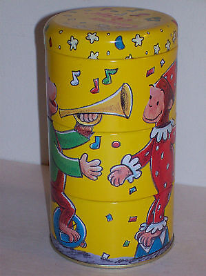 1995 CURIOUS GEORGE 3 in 1 STACKING TIN CONTAINERS BY SCHYLLING