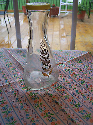 GOOD SEASONS SALAD DRESSING BOTTLE CRUET SHAKER/VINEGAR OIL JAR Gold Leaf