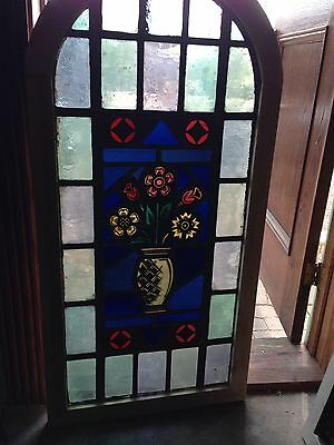 Sg 13 Antique Painted In Fired Stained Glass Flowers In The Vase Window