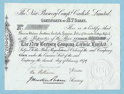 New Brewery Company Carlisle Ltd., share certificate dated 1879.
