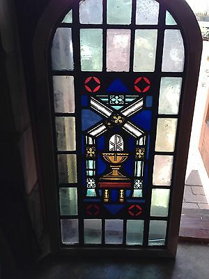 Sg 24 Antique Arch Top Stainglass Window Depicting Sacraments