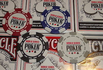 New 2013 World Series of Poker Chip Set of 4 Chips WSOP Red Black Blue Gray