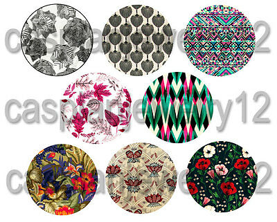 8 piece lot of Bohemian Vintage Fabric Patterns pins buttons badges