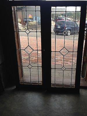 Sg 34 Small Beveled And Leaded Glass Matched Pair Cabinet Doors