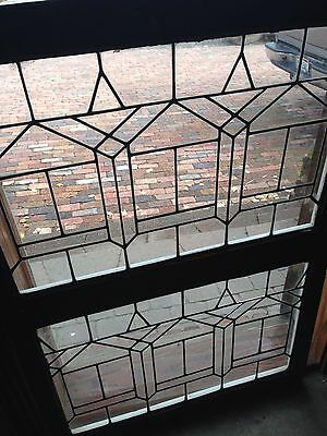 Sg 36 Matched Pair Of Geometric Flat Glass Antique Windows 24 X 34