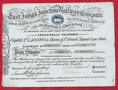 INDIA 1847 East Indian Junction Railway Co - FIVE shares share certificate