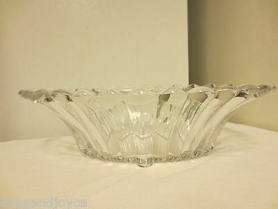 Signed Heisey Glass Clear Crysolite Oval Paneled 4-Toed Console,Centerpiece Bowl