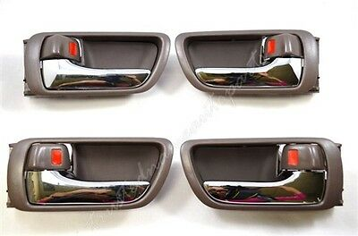 fits Toyota Inside Interior Door Handle Front Rear Left Right Dark Brown Set