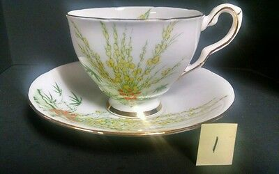 "BONE CHINA TEA CUP MADE IN ENGLAND By ROYAL STAFFORD - ""BROOM"" DESIGN"