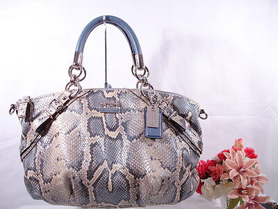 NEW Coach Madison Sophia Ivory  Blue Python Embossed Leather Purse ...