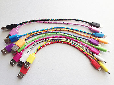 """8"""" Braided USB Data Sync Charge Cable FOR iphone 6 5s 5c & ipod touch 5 & nano 7"""