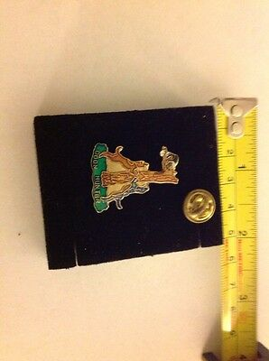 Hound Dogs Treeing a Raccoon COON HUNTER old enamel pin