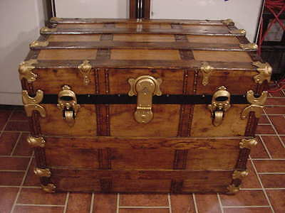 Ladycomet Refinished Flat Top Steamer Trunk Antique Chest With Key & Tray