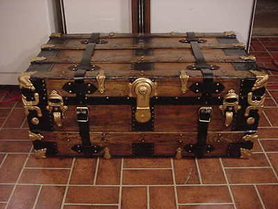 Ladycomet Refinished Flat Top Steamer Trunk Antique Chest With Straps and Key