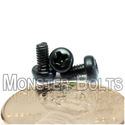 M2 x 4mm - Qty 10 - Phillips Pan Head Machine Screws - DIN 7985 A - Black Steel