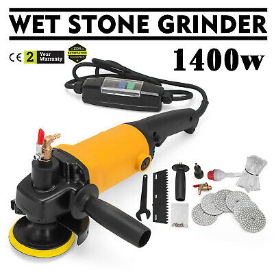 1400W Wet Electric Polisher Grinder Kit W/ Pads Variable Diamond Industrial