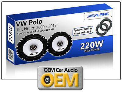 VW Polo Front Door speakers Alpine car speaker kit with Adapter Pods 220W Max