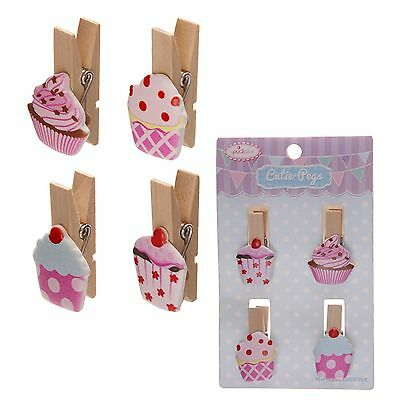 4 Craft Pegs Cup Cake Peg Wood Mini Cute Chintz  4cm