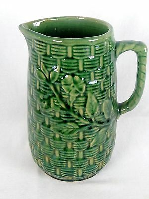 Antique Green Majolica Pitcher with Basket Weave Pattern