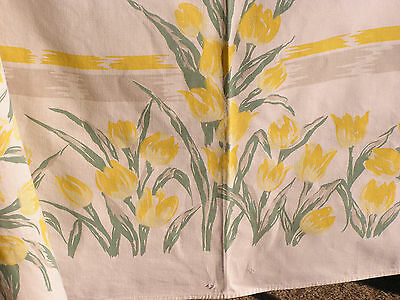 Vintage  1940's, 1950's Tablecloth  Beautiful Yellow Tulips Excellent Condition