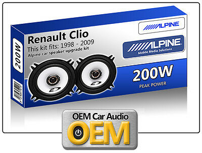"Renault Clio Front Door speakers Alpine 13cm 5.25"" car speaker kit 200W Max"