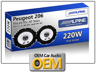 "Peugeot 206 Front Door speakers Alpine 17cm 6.5"" car speaker kit 220W Max power"