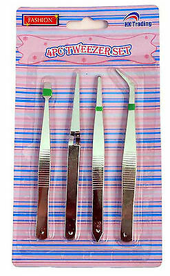 Tweezers 4 Piece Set Perfect For Arts & Crafts Jewelry And Electronics!