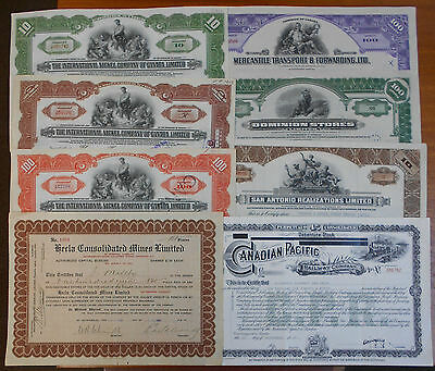 Collection of Eight Canadian Share Certificates