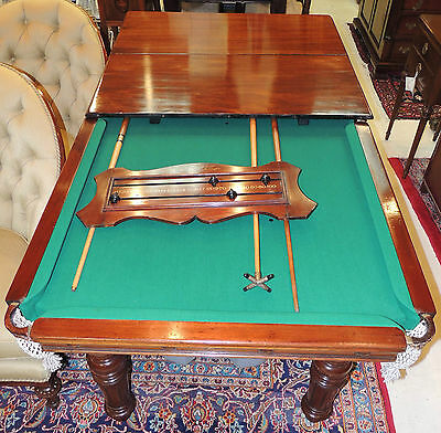 RARE Turn-of-the-Century English Convertible Dining/Snooker Billiard Game Table