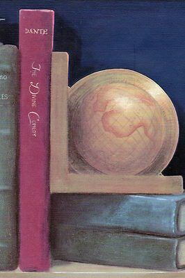 / Sale$ Old books, Globe & Sailboat Model on Shelf  45 feet Wallpaper Border 256